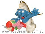Smurf Riding Christmas Candy Cane - Genuine
