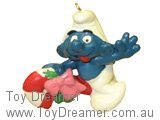 Smurf Riding Christmas Candy Cane - Fake